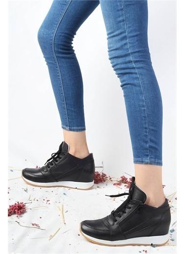 Modabuymus Modabuymus Hakiki Deri Gizli Dolgu Sneaker  Spor Ayakkabı - Xmod Siyah